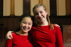 "Main Choir choristers smile after the November 5 concert, ""Songs of Celebration"""